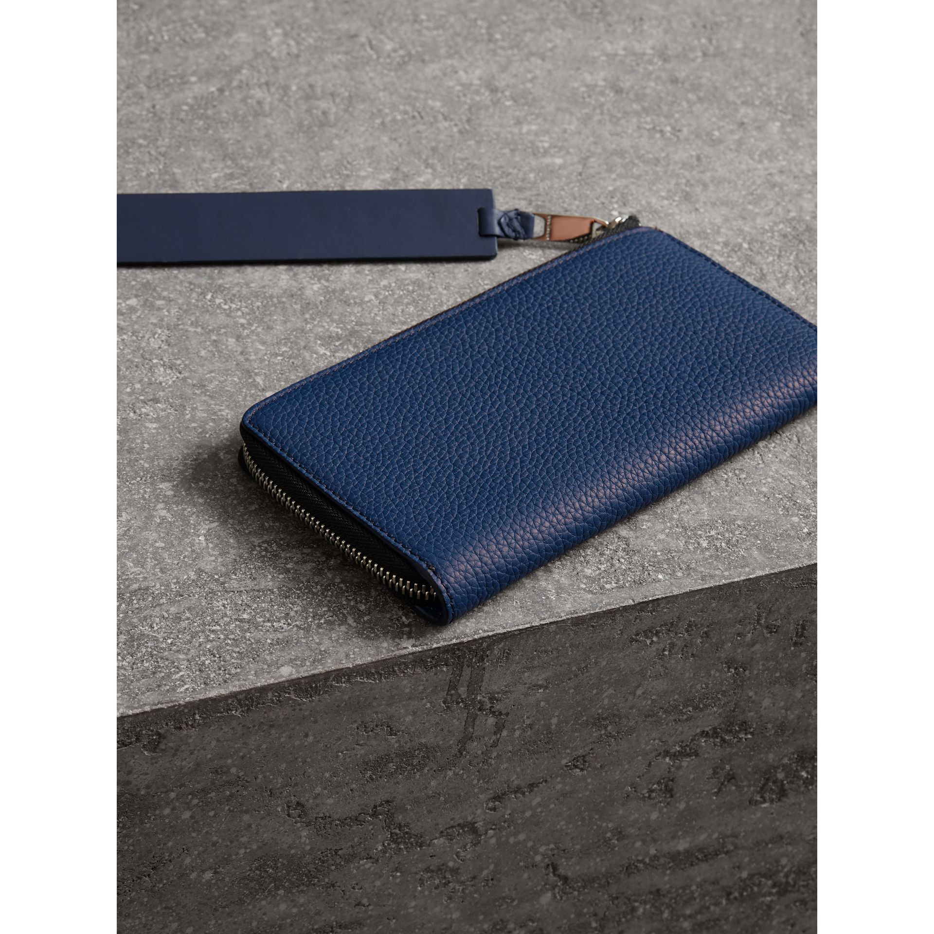 Grainy Leather Travel Wallet in Bright Ultramarine - Men | Burberry Australia - gallery image 2