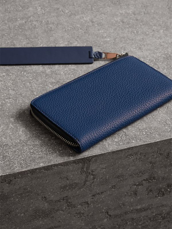Grainy Leather Travel Wallet in Bright Ultramarine - Men | Burberry - cell image 2