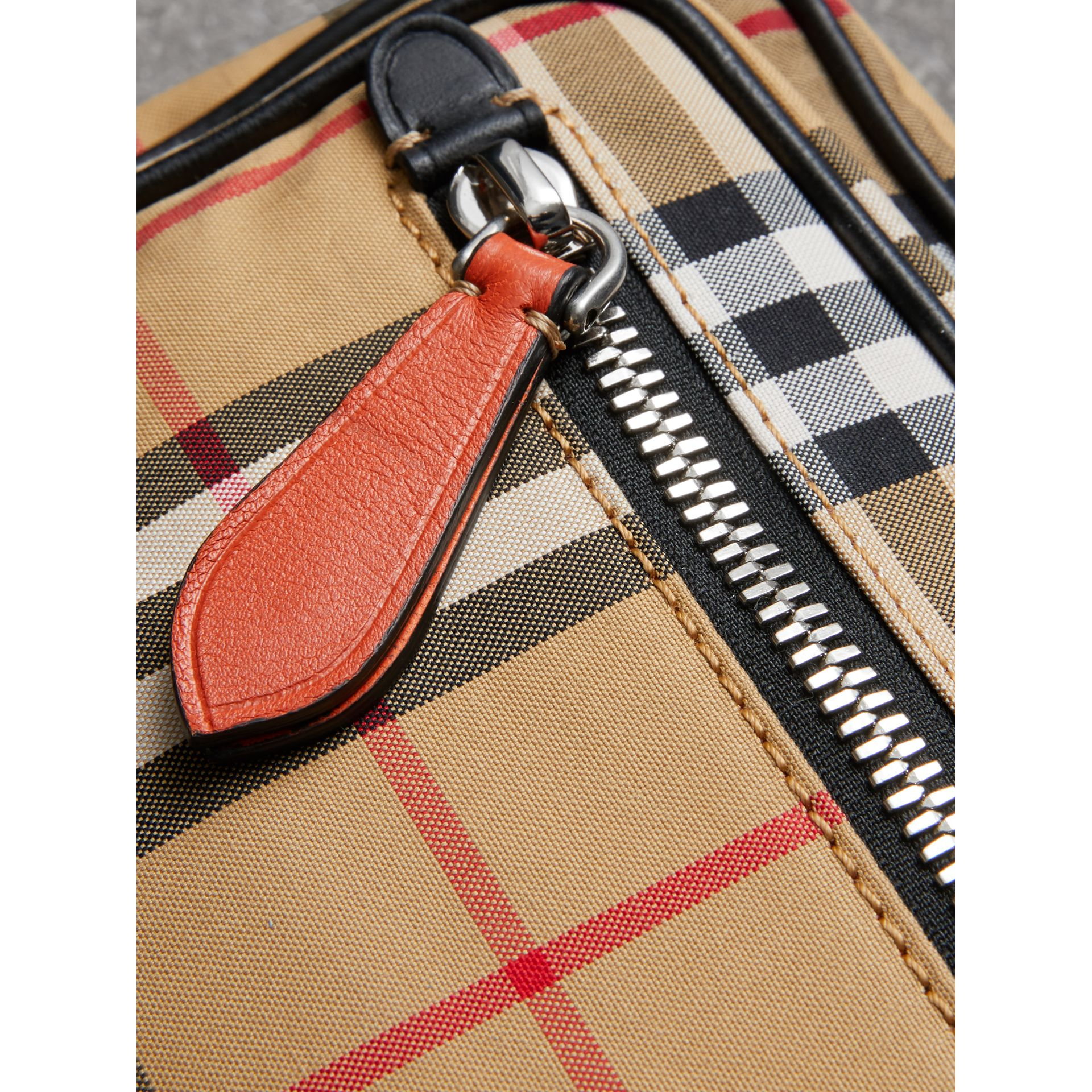 Vintage Check and Leather Crossbody Bag in Clementine - Men | Burberry United Kingdom - gallery image 3