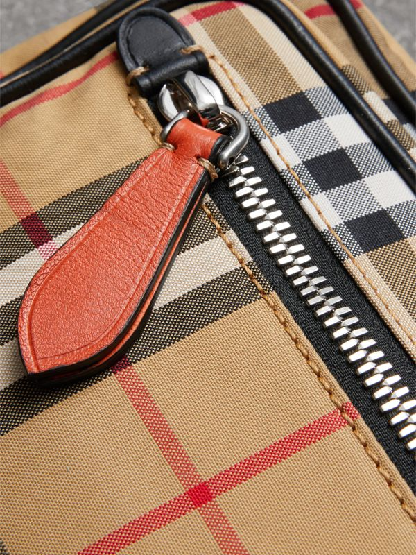Vintage Check and Leather Crossbody Bag in Clementine - Men | Burberry United Kingdom - cell image 3