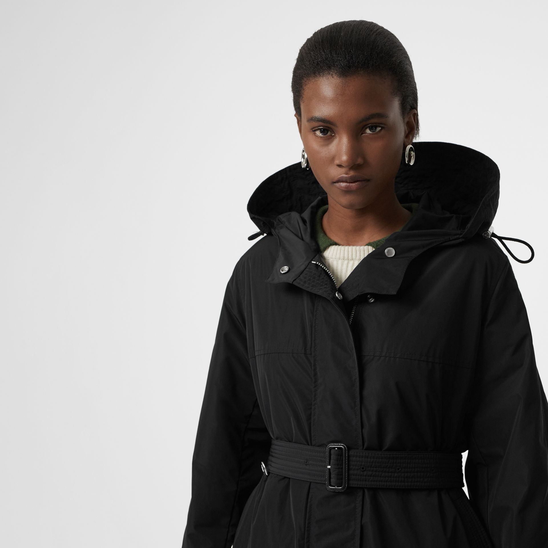 Shape-memory Taffeta Hooded Parka in Black - Women | Burberry Australia - gallery image 3