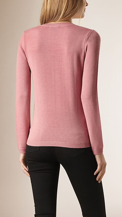 Pale rose pink Check Detail Wool Cashmere Sweater - Image 2