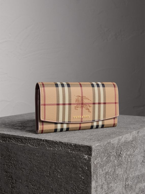 Haymarket Check and Leather Slim Continental Wallet in Light Elderberry - Women | Burberry Canada