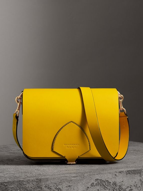 The Large Square Satchel in Leather in Bright Larch Yellow