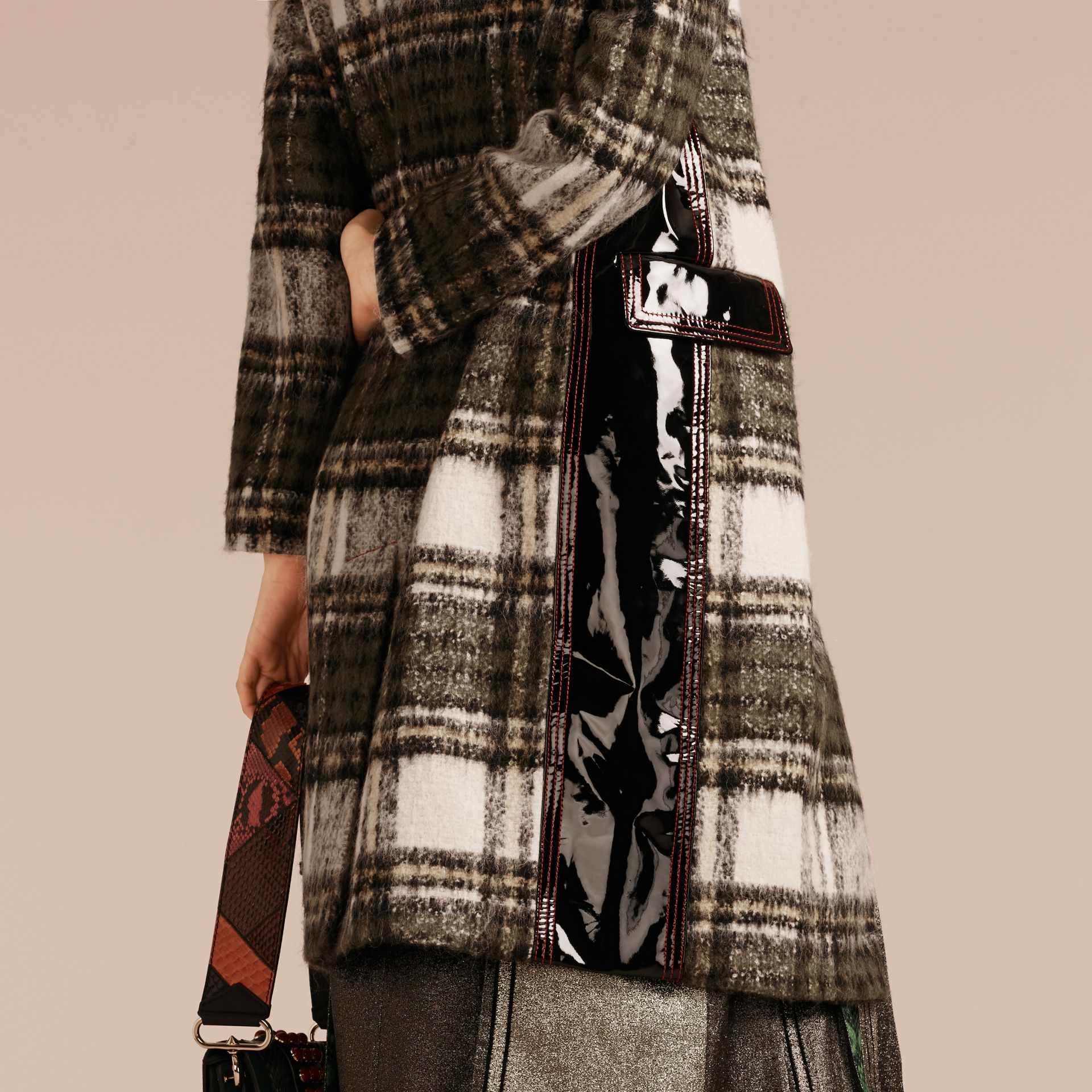 Forest green Brushed Tartan Wool Mohair Coat - gallery image 6