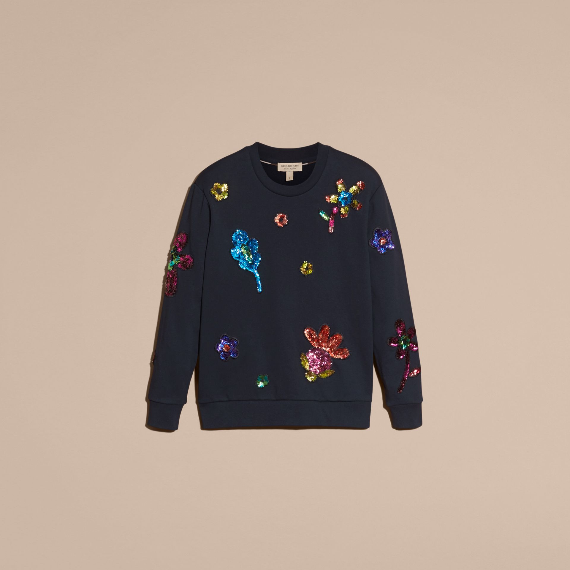 Navy Sequin Floral Appliqué Cotton Sweatshirt - gallery image 4