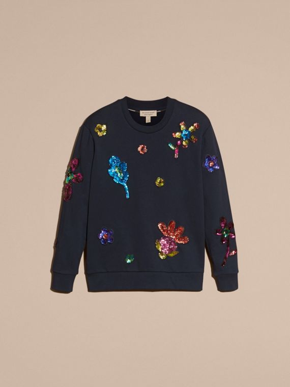 Navy Sequin Floral Appliqué Cotton Sweatshirt Navy - cell image 3