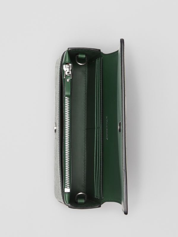 Perforated Logo Leather Wallet with Detachable Strap in Vintage Green - Women | Burberry - cell image 3