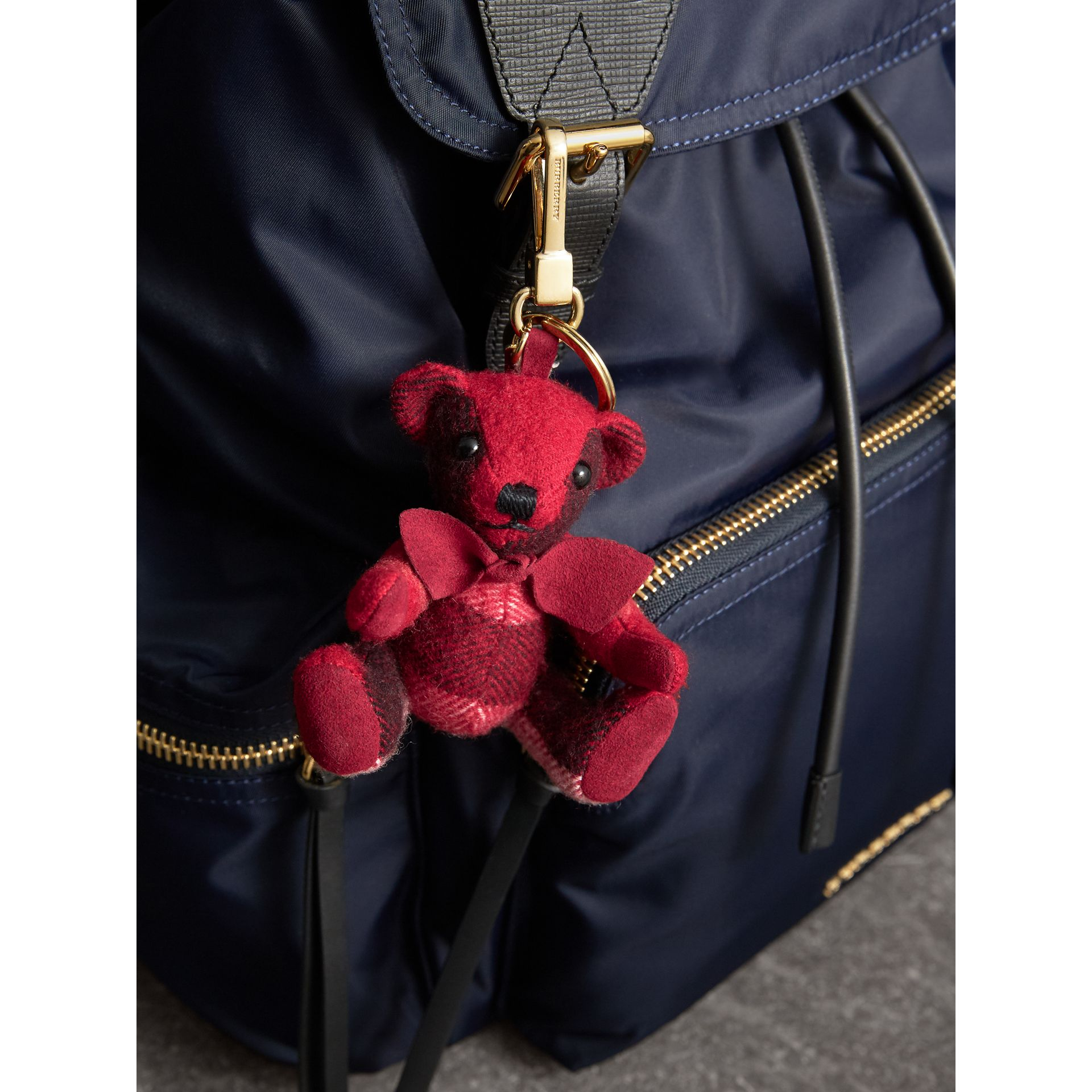Thomas Bear Charm in Check Cashmere in Parade Red | Burberry - gallery image 3