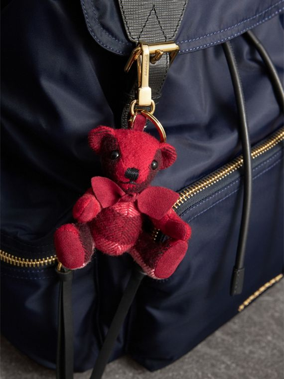Thomas Bear Charm in Check Cashmere in Parade Red | Burberry - cell image 2