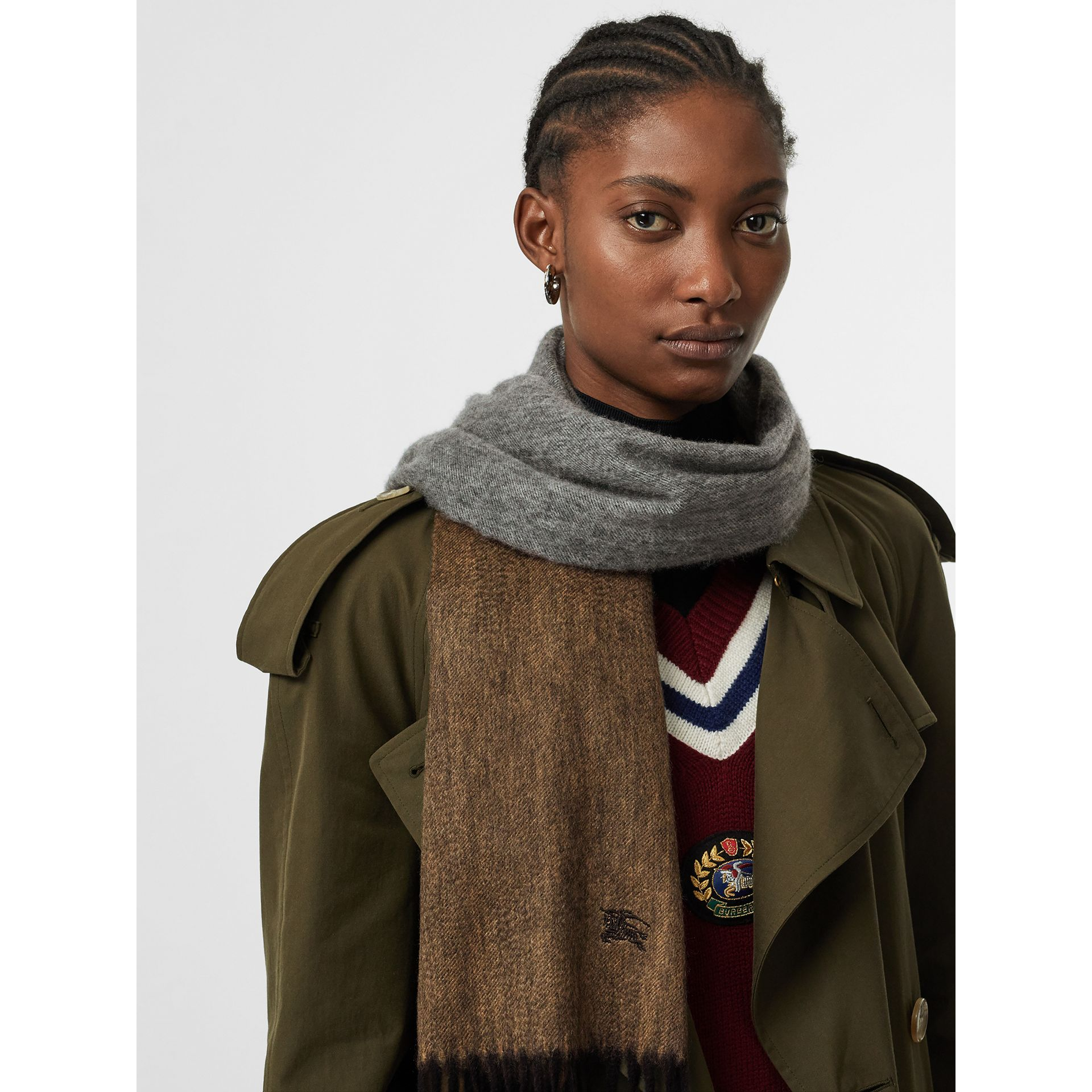 Colour Block Cashmere Scarf in Ivory | Burberry - gallery image 5