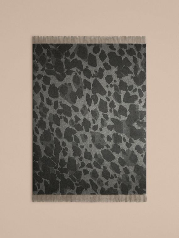 Mid grey print Animal Jacquard Cashmere Blanket Mid Grey Print - cell image 2