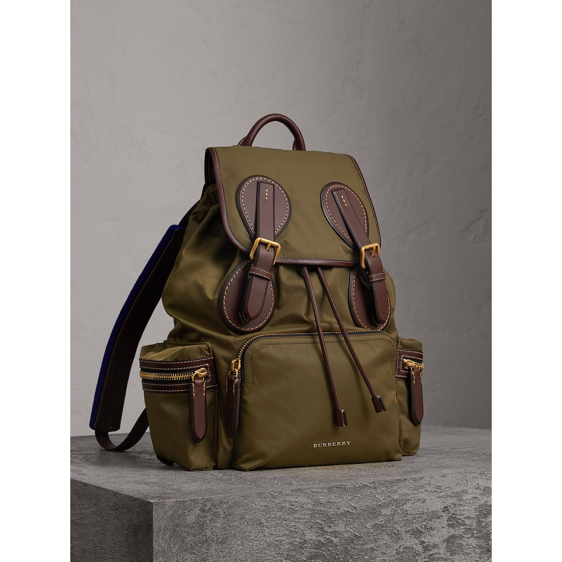 The Large Rucksack in Technical Nylon and Topstitched Leather in Dark Antique Green | Burberry - gallery image 0
