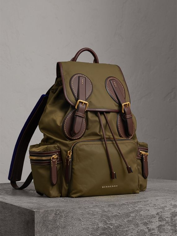 The Large Rucksack in Technical Nylon and Topstitched Leather in Dark Antique Green
