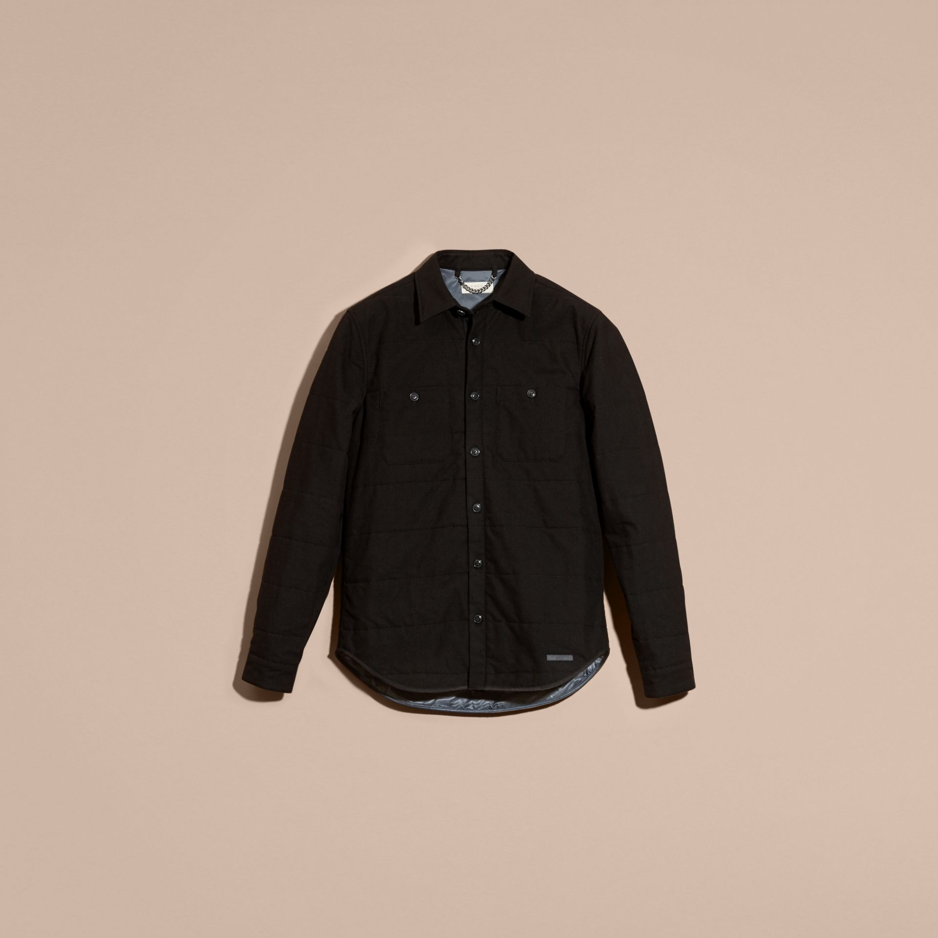 Black melange Wadded Cotton Wool Overshirt - gallery image 4