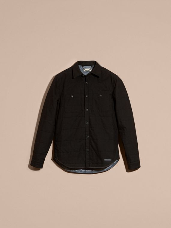 Black melange Wadded Cotton Wool Overshirt - cell image 3