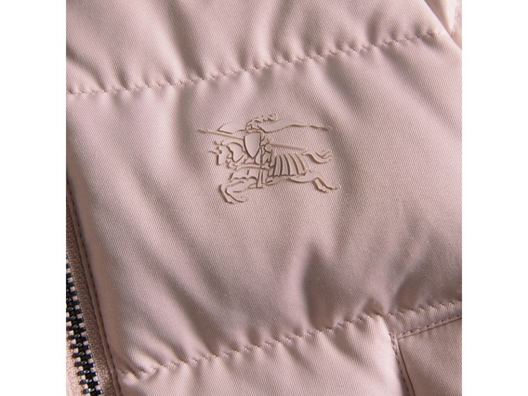 Hooded Down-filled Puffer Jacket with Mittens in Powder Pink | Burberry - cell image 1