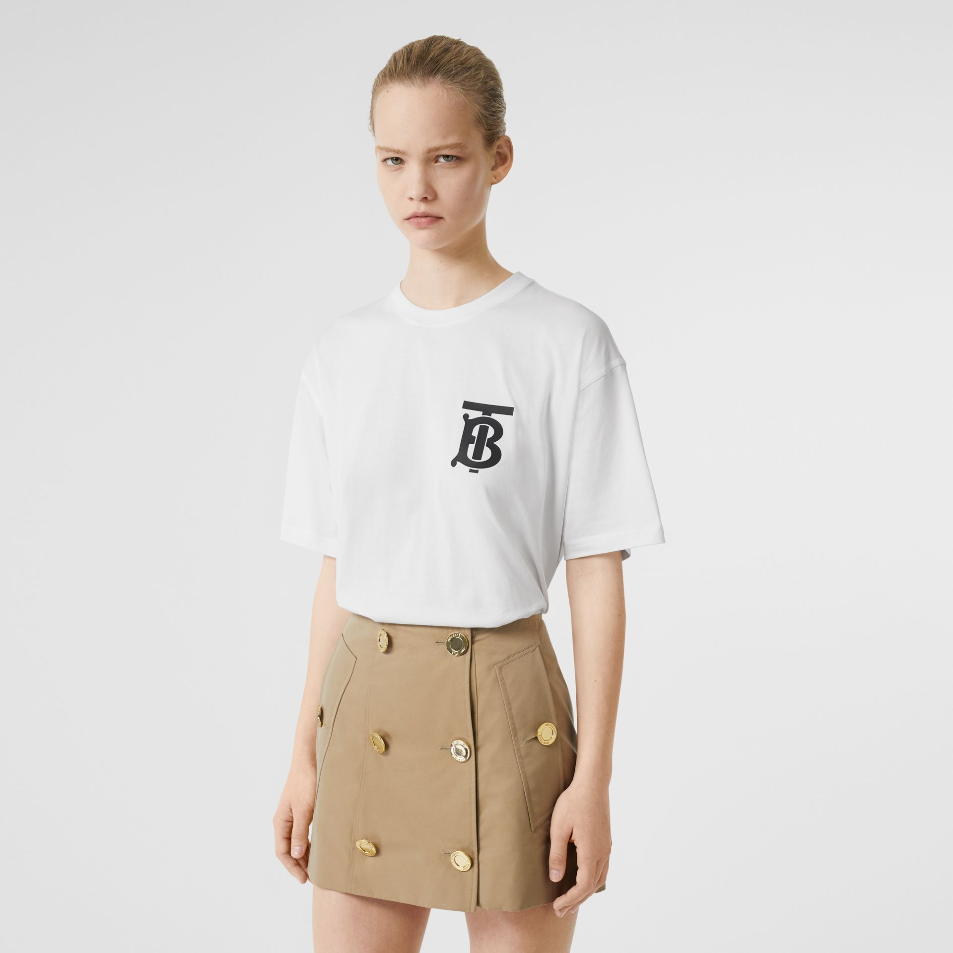 Monogram Motif Cotton Oversized T-shirt in White - Women | Burberry Singapore - gallery image 4