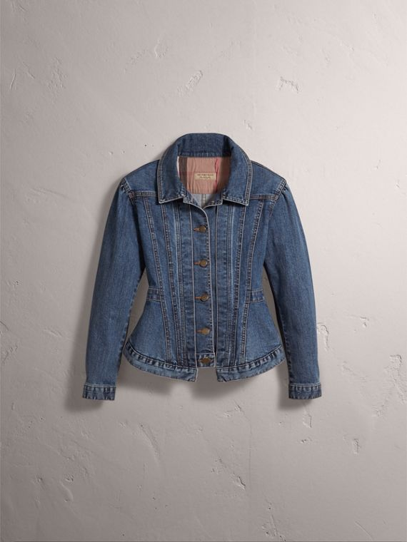 Puff-sleeve Denim Jacket - Women | Burberry - cell image 3