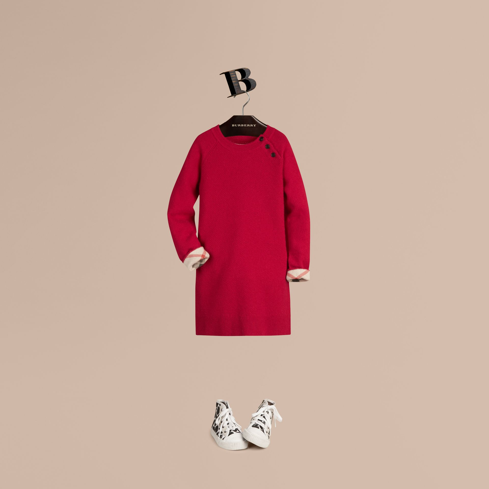 Check Detail Cashmere Dress in Parade Red - Girl | Burberry - gallery image 1