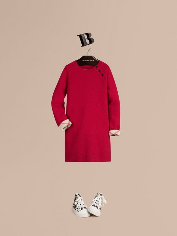 Check Detail Cashmere Dress Parade Red