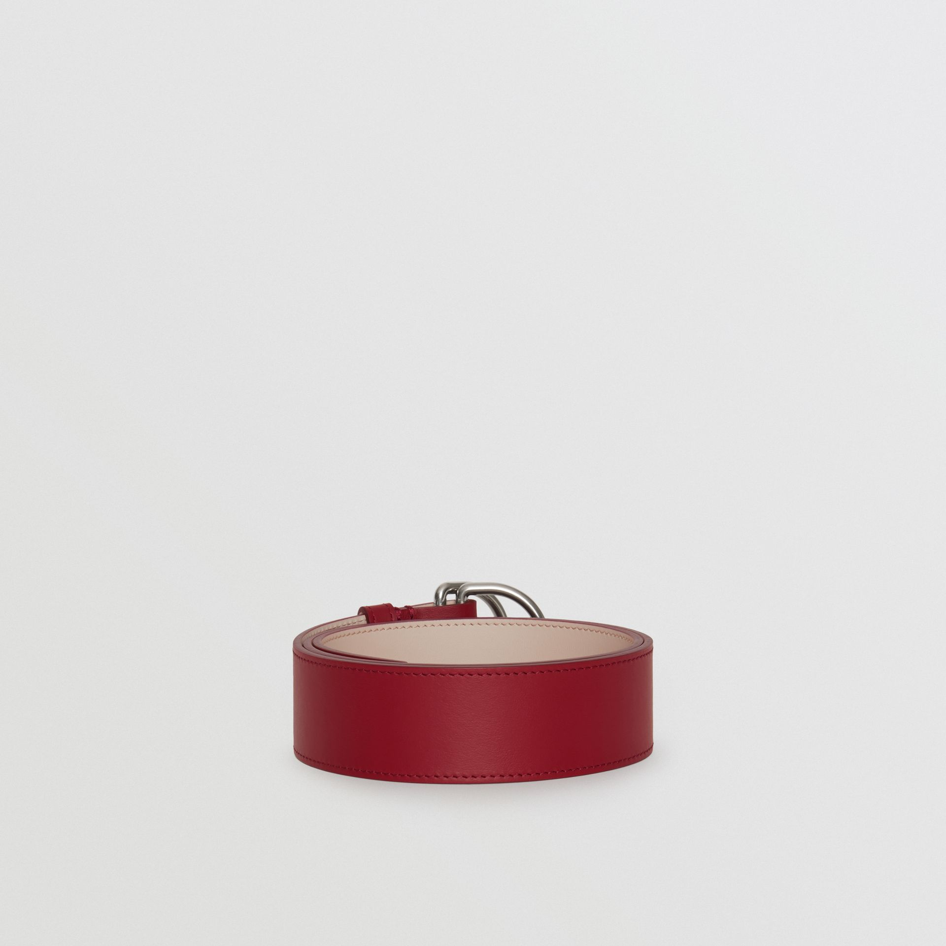 Leather Double D-ring Belt in Crimson/limestone - Women | Burberry United Kingdom - gallery image 3