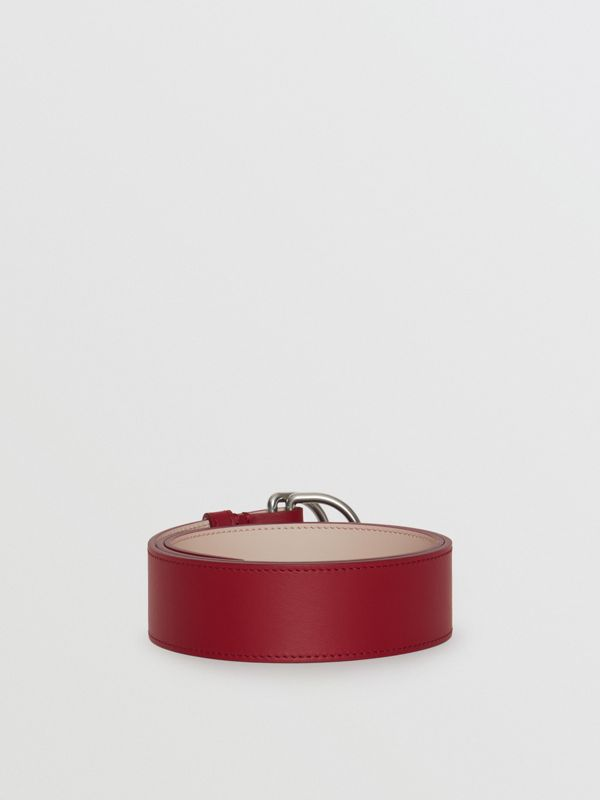 Leather Double D-ring Belt in Crimson/limestone - Women | Burberry United States - cell image 3