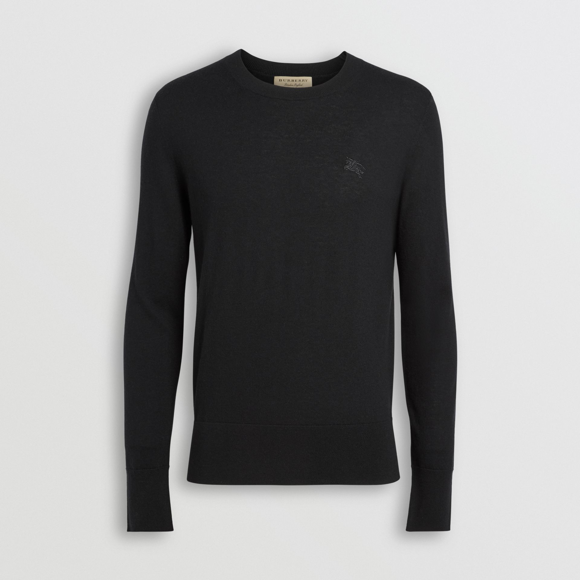 Crew Neck Cashmere Sweater in Black - Men | Burberry - gallery image 3