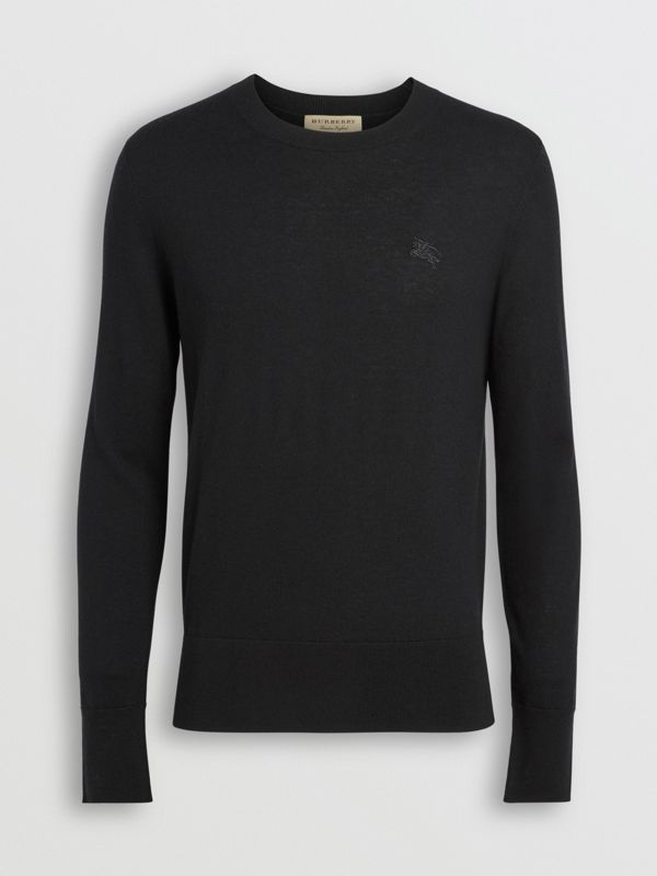 Crew Neck Cashmere Sweater in Black - Men | Burberry Australia - cell image 3