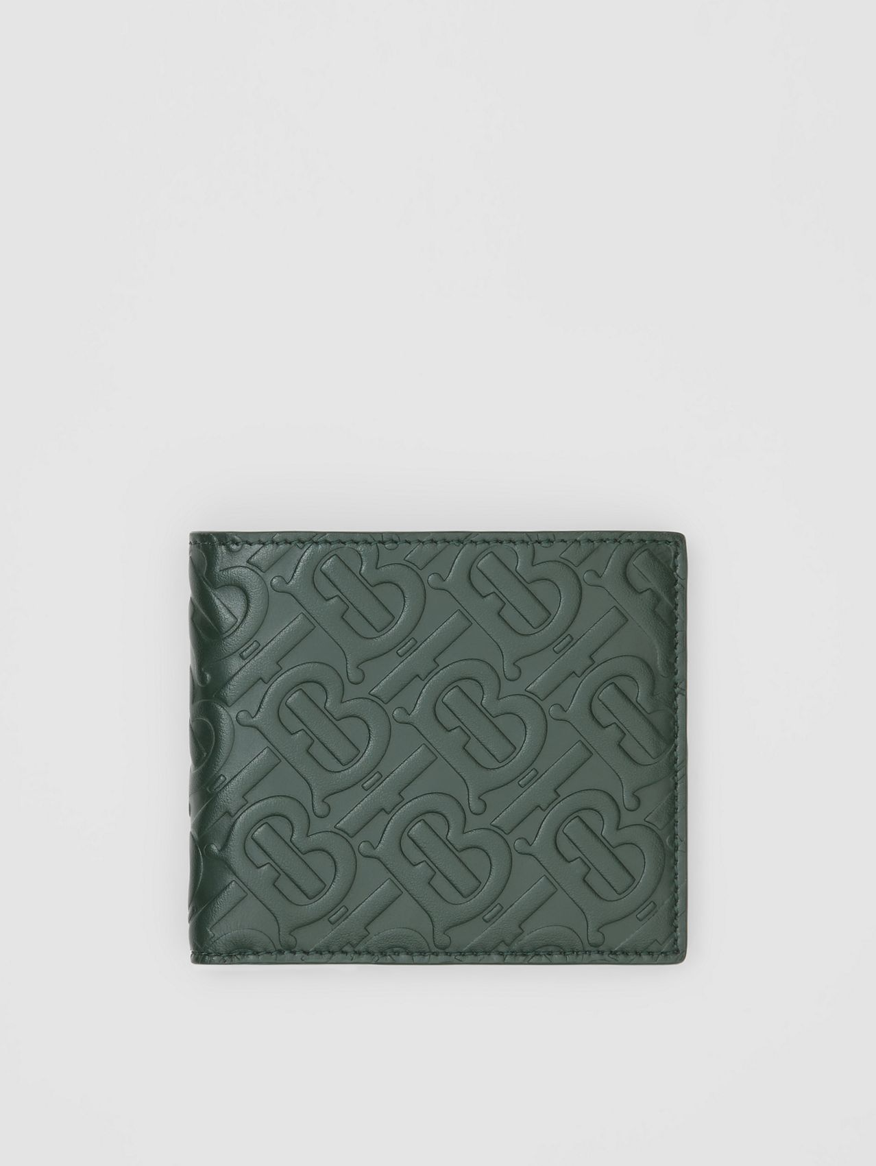 Monogram Leather International Bifold Wallet in Dark Pine Green