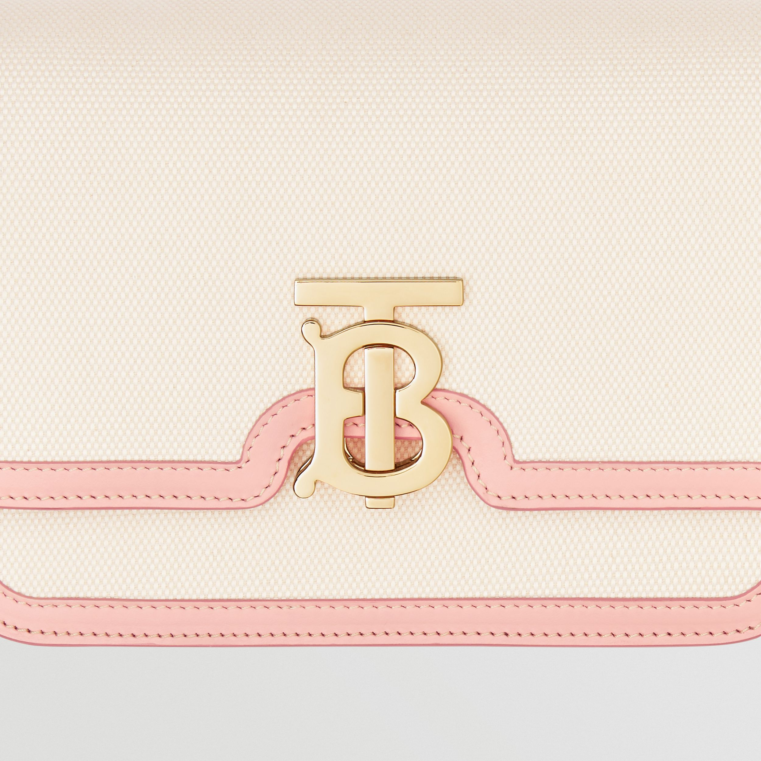 Small Two-tone Canvas and Leather TB Bag in Blush Pink - Women | Burberry - 2