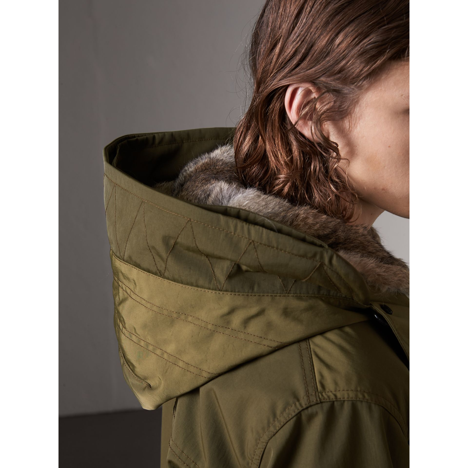 Detachable Fur Warmer and Fur Trim Hooded Parka in Military Green - Men | Burberry Singapore - gallery image 1