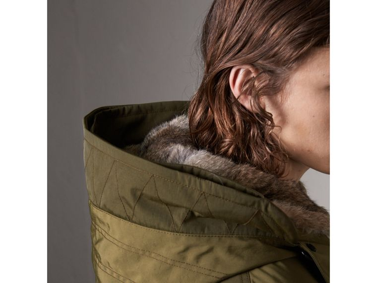 Detachable Fur Warmer and Fur Trim Hooded Parka in Military Green - Men | Burberry Singapore - cell image 1