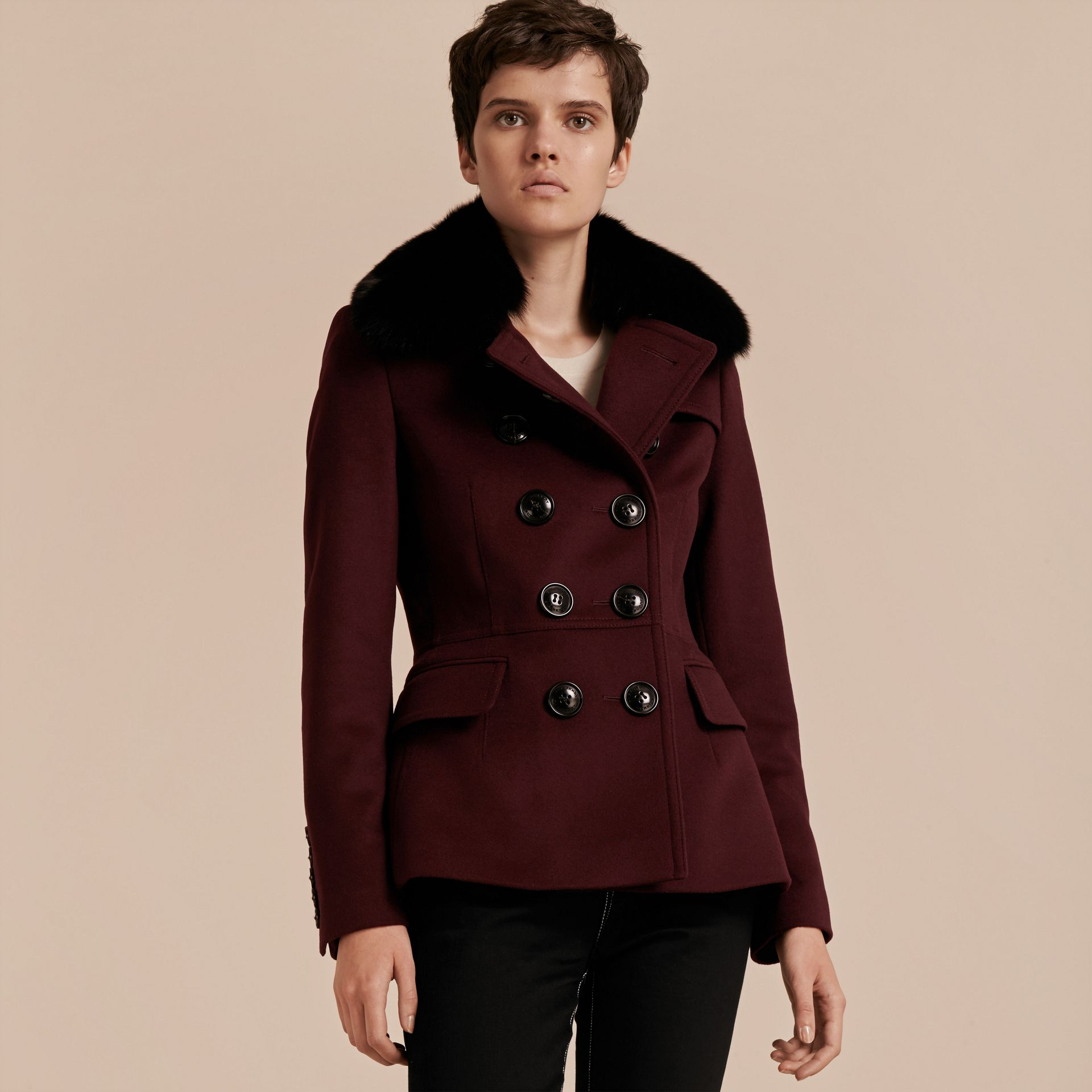 Deep claret Double-breasted Wool Cashmere Fur Collar Coat - gallery image 7