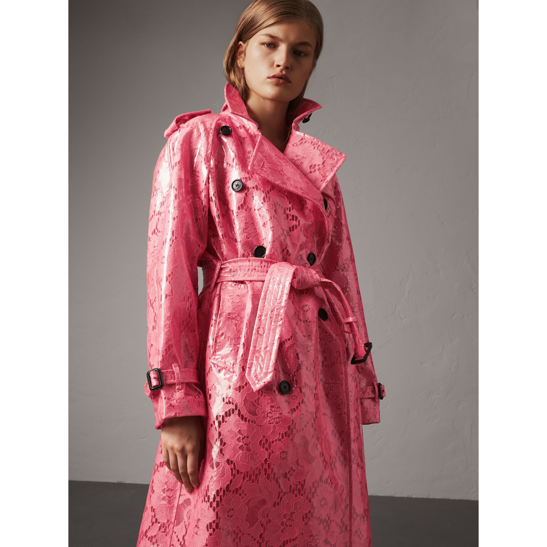 Laminated Lace Trench Coat in Bright Pink - Women | Burberry United Kingdom - gallery image 3