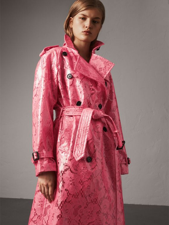 Laminated Lace Trench Coat in Bright Pink - Women | Burberry United Kingdom - cell image 3