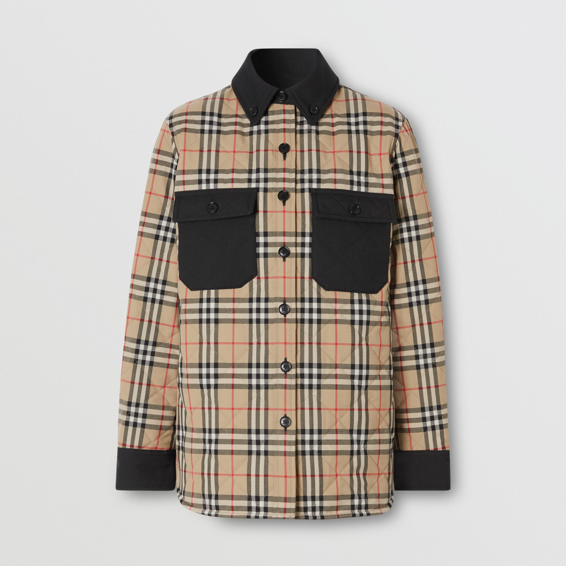 Vintage Check Wool Flannel Overshirt in Archive Beige - Women | Burberry United States - gallery image 3