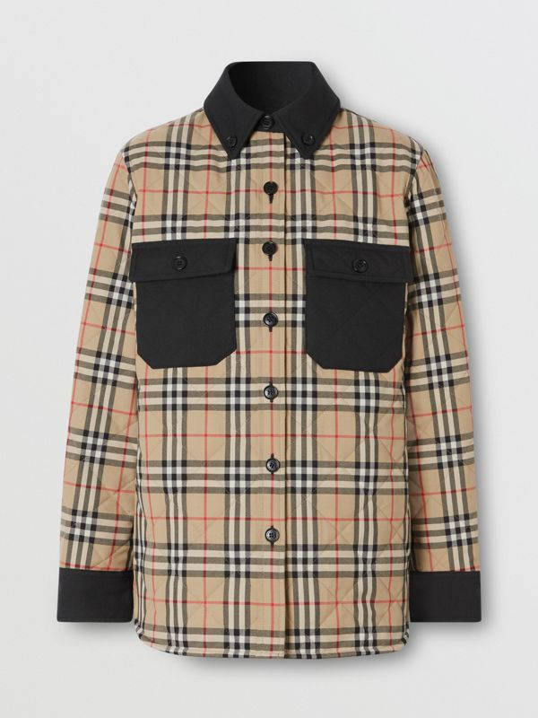 Vintage Check Wool Flannel Overshirt in Archive Beige - Women | Burberry United States - cell image 3