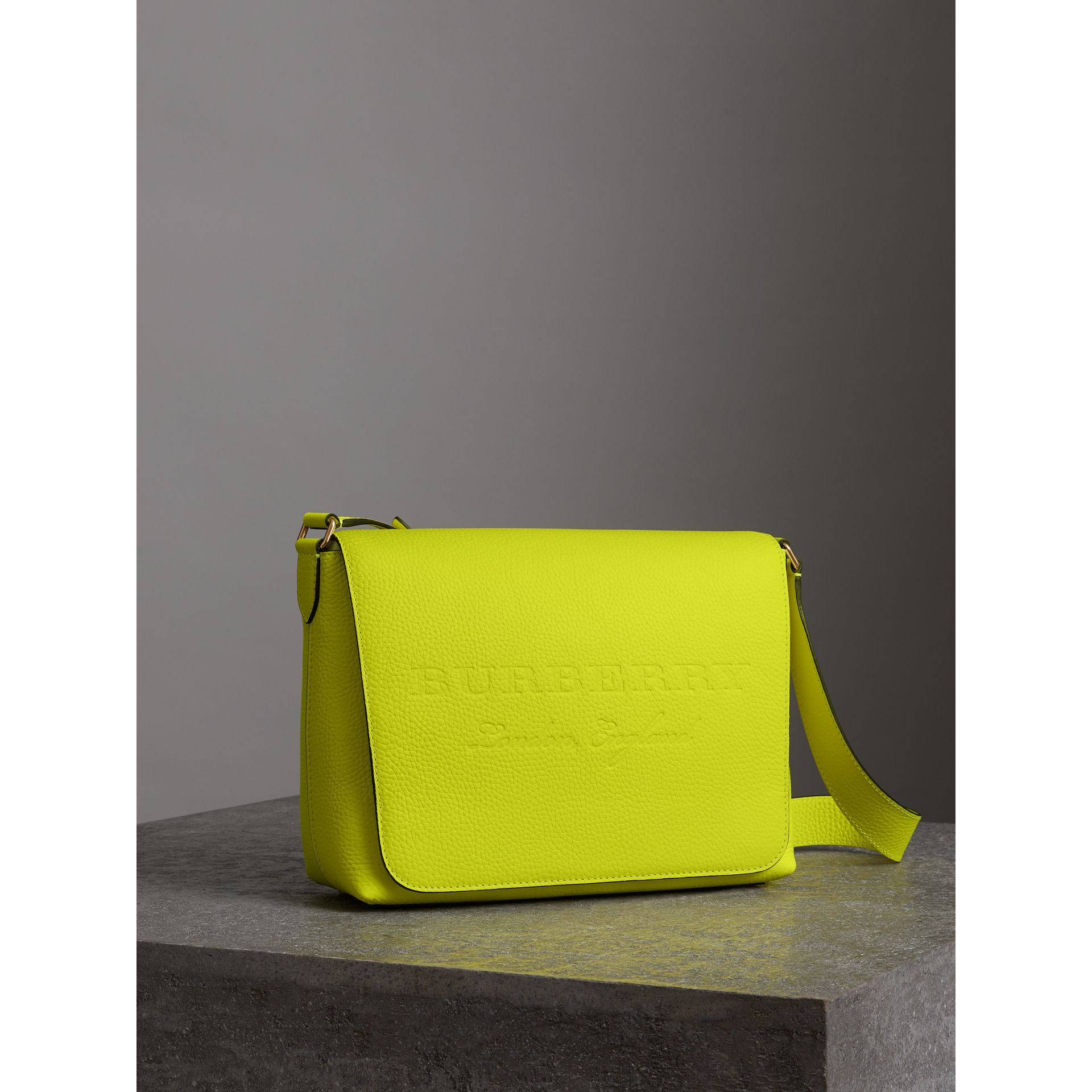 Medium Embossed Leather Messenger Bag in Neon Yellow | Burberry - gallery image 4