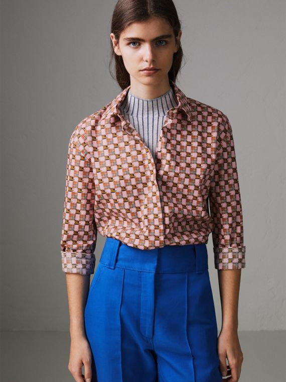 Tiled Archive Print Cotton Shirt in Pink