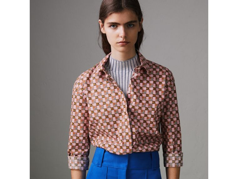 Tiled Archive Print Cotton Shirt in Pink - Women | Burberry United States - cell image 4