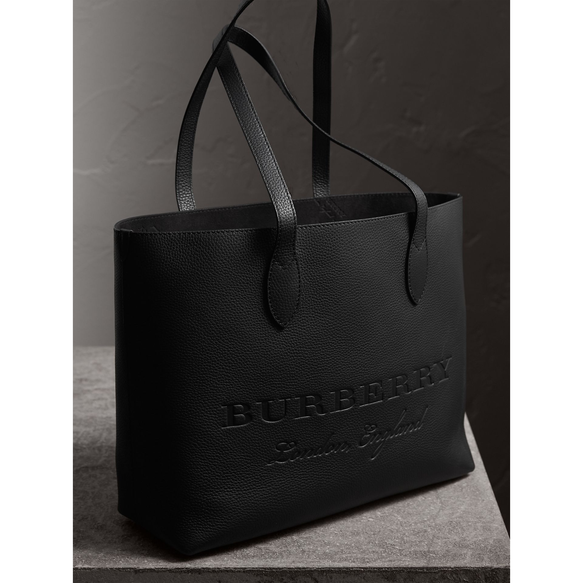 Large Embossed Leather Tote in Black | Burberry - gallery image 7