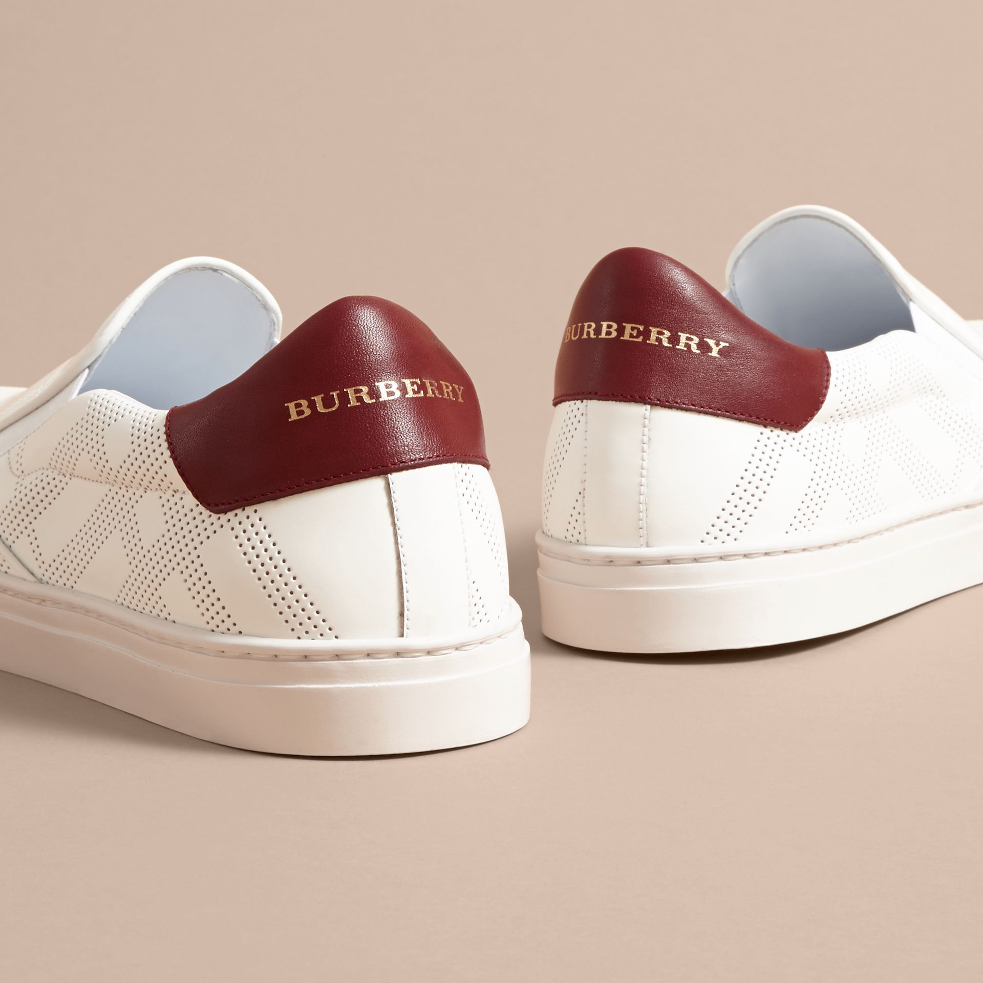 Perforated Check Leather Slip-on Trainers in Optic White/deep Claret Melange - Men | Burberry - gallery image 4