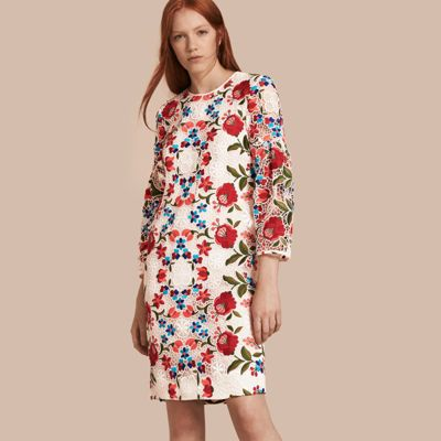 a183972add Burberry Floral-Embroidered Lace Shift Dress