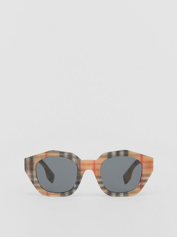 Vintage Check Geometric Frame Sunglasses in Antique Yellow
