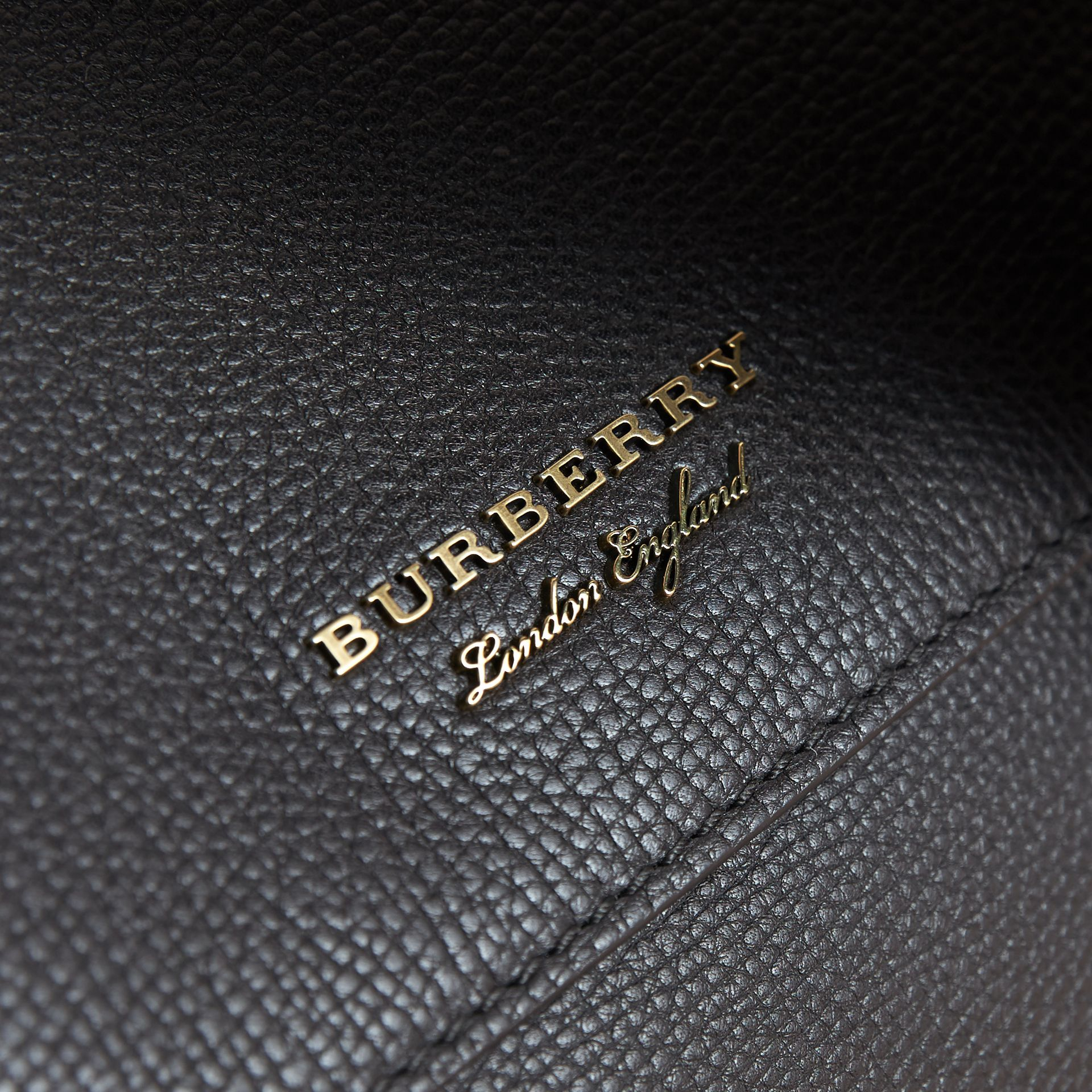 Leather and House Check Satchel in Black - Men | Burberry - gallery image 2