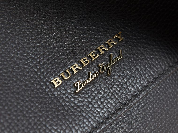 Leather and House Check Satchel in Black - Men | Burberry Canada - cell image 1