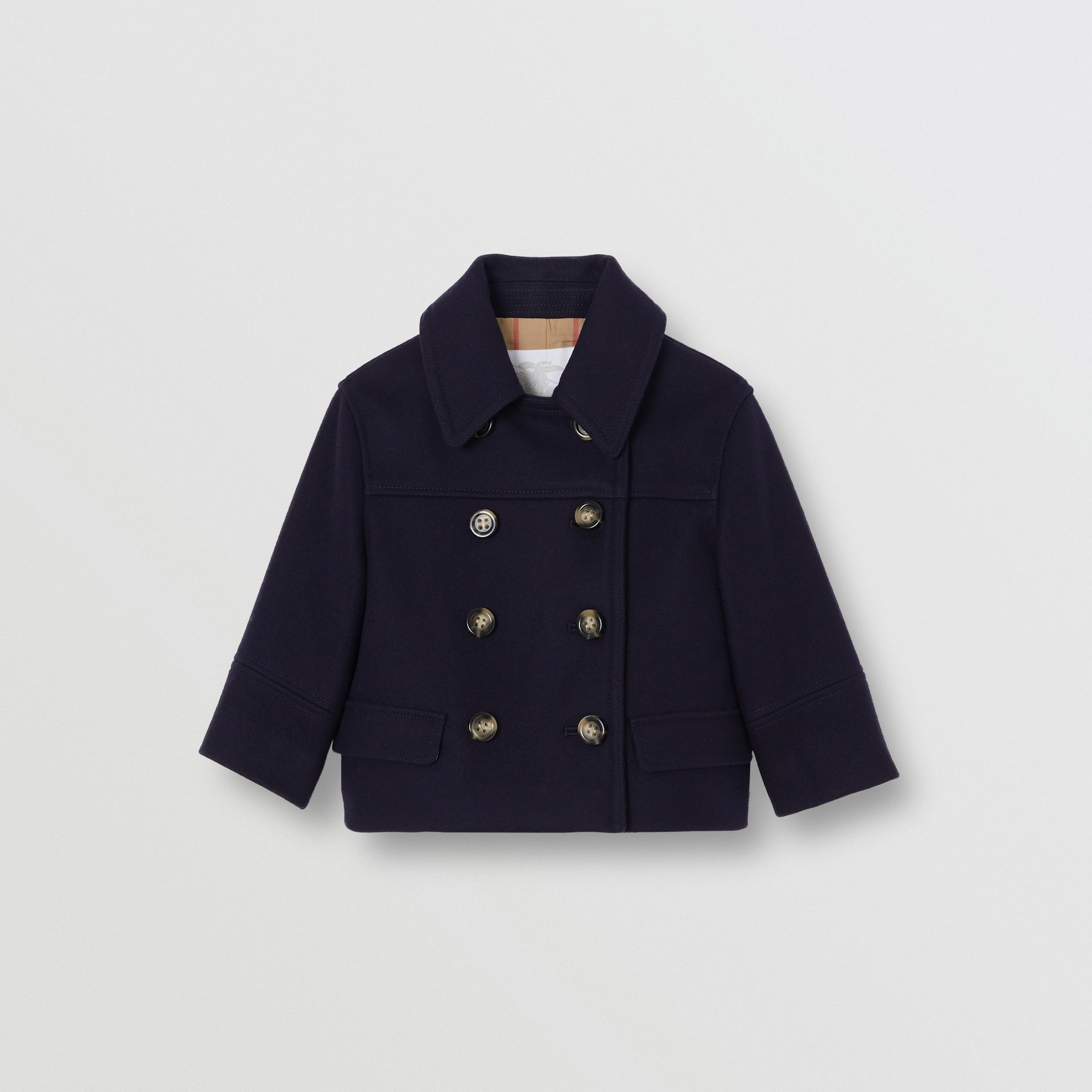 Melton Wool Tailored Pea Coat in Navy - Children | Burberry - gallery image 0