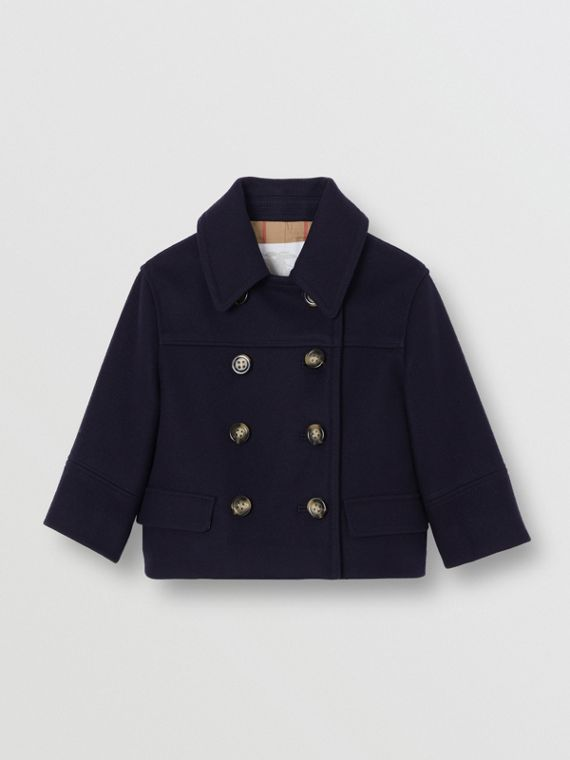 Melton Wool Tailored Pea Coat in Navy