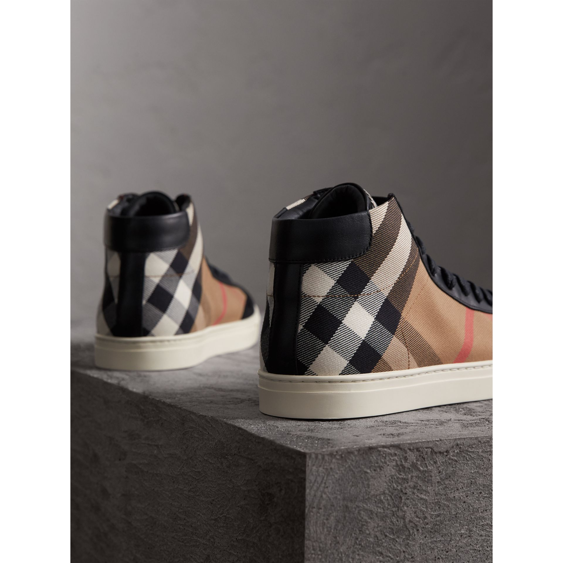 House Check Cotton and Leather High-top Trainers in Black - Men | Burberry - gallery image 3